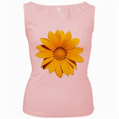 Transparent Flower Summer Yellow Women s Pink Tank Top by Simbadda