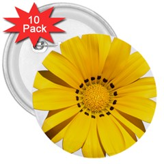 Transparent Flower Summer Yellow 3  Buttons (10 Pack)  by Simbadda