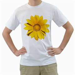 Transparent Flower Summer Yellow Men s T Shirt (white) (two Sided)