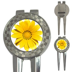 Transparent Flower Summer Yellow 3 In 1 Golf Divots by Simbadda