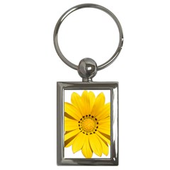 Transparent Flower Summer Yellow Key Chains (rectangle)  by Simbadda