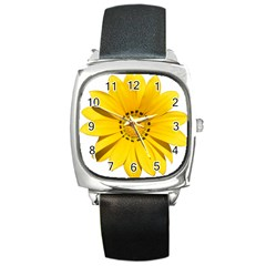 Transparent Flower Summer Yellow Square Metal Watch by Simbadda