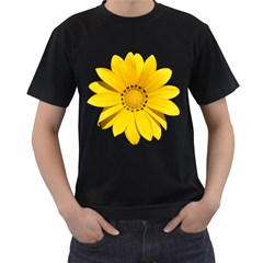 Transparent Flower Summer Yellow Men s T Shirt (black) (two Sided) by Simbadda