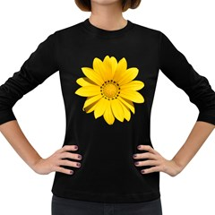Transparent Flower Summer Yellow Women s Long Sleeve Dark T Shirts by Simbadda