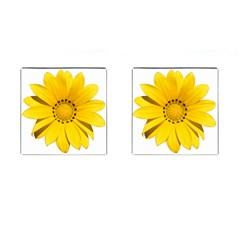 Transparent Flower Summer Yellow Cufflinks (square) by Simbadda