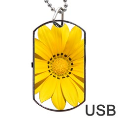 Transparent Flower Summer Yellow Dog Tag Usb Flash (one Side) by Simbadda
