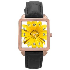 Transparent Flower Summer Yellow Rose Gold Leather Watch  by Simbadda