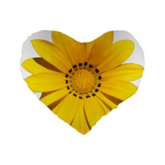 Transparent Flower Summer Yellow Standard 16  Premium Flano Heart Shape Cushions by Simbadda