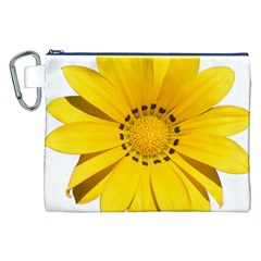 Transparent Flower Summer Yellow Canvas Cosmetic Bag (xxl) by Simbadda