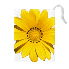 Transparent Flower Summer Yellow Drawstring Pouches (extra Large) by Simbadda