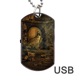 Woman Lost Model Alone Dog Tag Usb Flash (one Side) by Simbadda