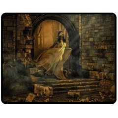 Woman Lost Model Alone Double Sided Fleece Blanket (medium)  by Simbadda
