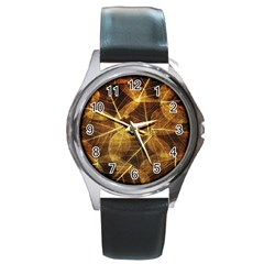 Leaves Autumn Texture Brown Round Metal Watch by Simbadda
