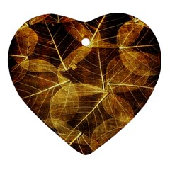 Leaves Autumn Texture Brown Ornament (heart) by Simbadda