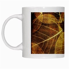 Leaves Autumn Texture Brown White Mugs by Simbadda