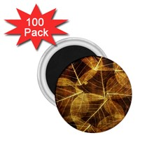 Leaves Autumn Texture Brown 1 75  Magnets (100 Pack)  by Simbadda