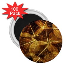 Leaves Autumn Texture Brown 2 25  Magnets (100 Pack)  by Simbadda