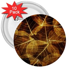 Leaves Autumn Texture Brown 3  Buttons (10 Pack)  by Simbadda