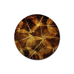 Leaves Autumn Texture Brown Rubber Coaster (round)  by Simbadda