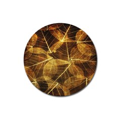 Leaves Autumn Texture Brown Magnet 3  (round) by Simbadda