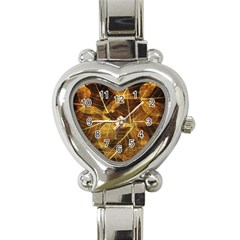 Leaves Autumn Texture Brown Heart Italian Charm Watch by Simbadda