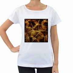 Leaves Autumn Texture Brown Women s Loose-Fit T-Shirt (White)