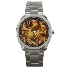 Leaves Autumn Texture Brown Sport Metal Watch by Simbadda