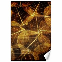 Leaves Autumn Texture Brown Canvas 24  X 36  by Simbadda