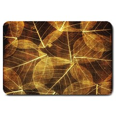 Leaves Autumn Texture Brown Large Doormat  by Simbadda