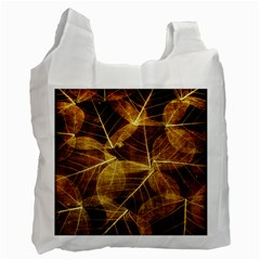 Leaves Autumn Texture Brown Recycle Bag (one Side) by Simbadda