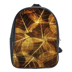 Leaves Autumn Texture Brown School Bags(large)  by Simbadda