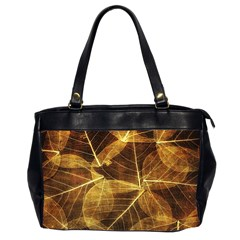 Leaves Autumn Texture Brown Office Handbags (2 Sides)  by Simbadda