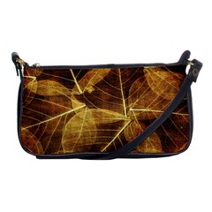 Leaves Autumn Texture Brown Shoulder Clutch Bags by Simbadda