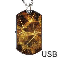 Leaves Autumn Texture Brown Dog Tag Usb Flash (two Sides) by Simbadda