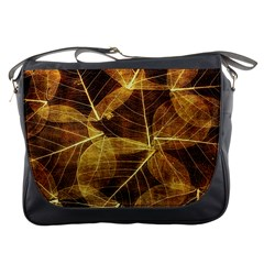 Leaves Autumn Texture Brown Messenger Bags by Simbadda