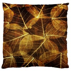 Leaves Autumn Texture Brown Large Cushion Case (two Sides) by Simbadda