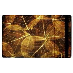 Leaves Autumn Texture Brown Apple Ipad 2 Flip Case by Simbadda
