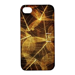 Leaves Autumn Texture Brown Apple Iphone 4/4s Hardshell Case With Stand by Simbadda