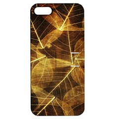 Leaves Autumn Texture Brown Apple Iphone 5 Hardshell Case With Stand by Simbadda