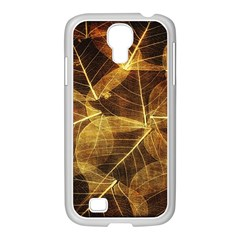 Leaves Autumn Texture Brown Samsung Galaxy S4 I9500/ I9505 Case (white) by Simbadda