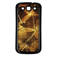 Leaves Autumn Texture Brown Samsung Galaxy S3 Back Case (black) by Simbadda