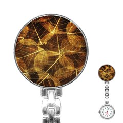 Leaves Autumn Texture Brown Stainless Steel Nurses Watch by Simbadda