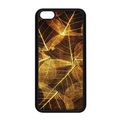 Leaves Autumn Texture Brown Apple Iphone 5c Seamless Case (black) by Simbadda