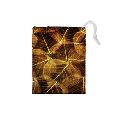 Leaves Autumn Texture Brown Drawstring Pouches (small)  by Simbadda