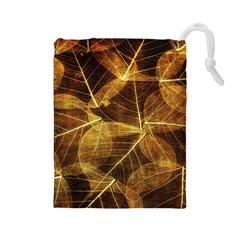 Leaves Autumn Texture Brown Drawstring Pouches (large)  by Simbadda