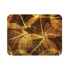 Leaves Autumn Texture Brown Double Sided Flano Blanket (mini)  by Simbadda