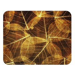 Leaves Autumn Texture Brown Double Sided Flano Blanket (large)  by Simbadda