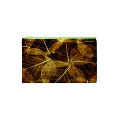 Leaves Autumn Texture Brown Cosmetic Bag (xs) by Simbadda