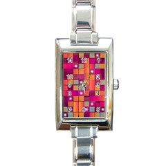 Abstract Background Colorful Rectangle Italian Charm Watch by Onesevenart