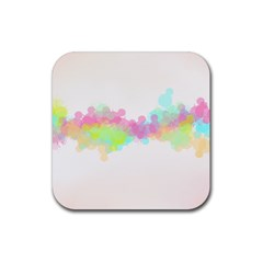 Abstract Color Pattern Colorful Rubber Square Coaster (4 Pack)  by Onesevenart